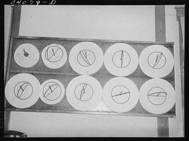 Recording thermometer charts at oil refinery. Seminole, Oklahoma