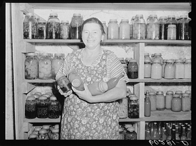 Rehabilitation client with canned goods. Chippewa County, Wisconsin