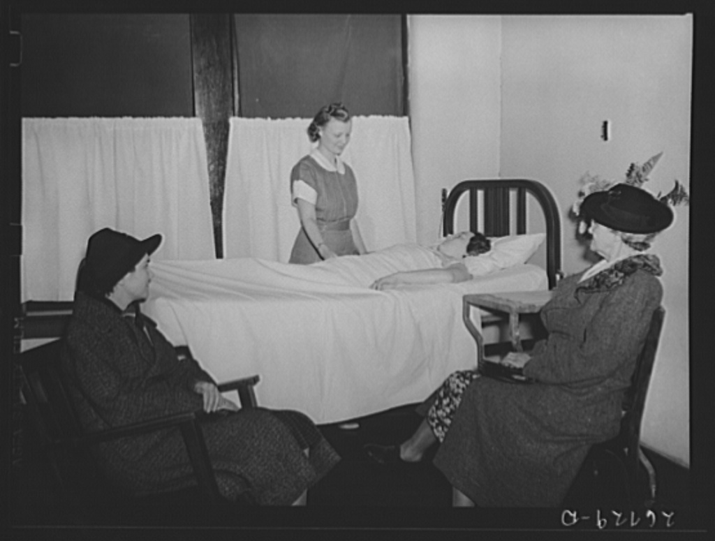 Relatives visiting a maternity case. Herrin Hospital (private). Herrin, Illinois