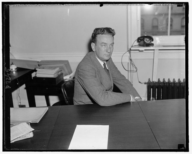 Rep. Charles A. Halleck of Ind., member of the Committee investigating the Nat'l Labor Relations Board, Sept. 1939