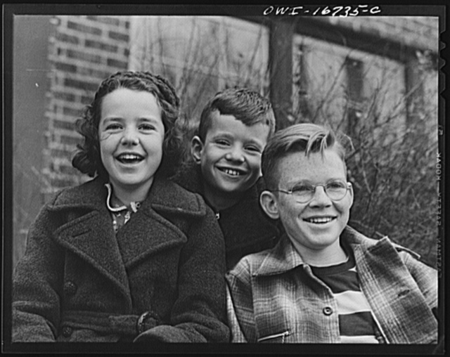 Royal Oak, Michigan. Portrait of three children in the neighborhood of Father Coughlin's Shrine of the Little Flower
