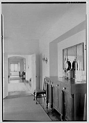 Rush Sturges, residence in Wakefield, Rhode Island. Dining room, to living room