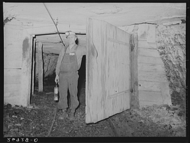 Safety inspector. This man uses a special lamp to test for gas throughout the mine. Old Ben number eight, West Frankfort, Illinois (see 26980-D)