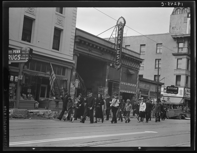 Salvation Army, San Francisco, California. Returning to headquarters; no recruits to audience from street