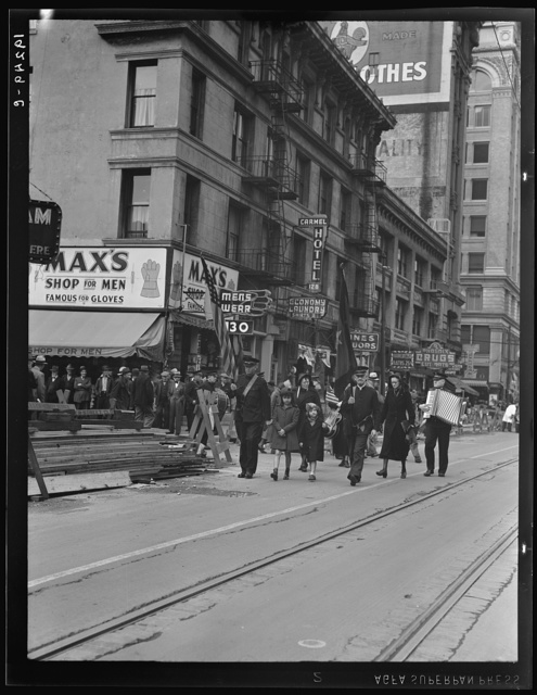 Salvation Army, San Francisco, California. Returning to headquarters. No recruits to audience from street