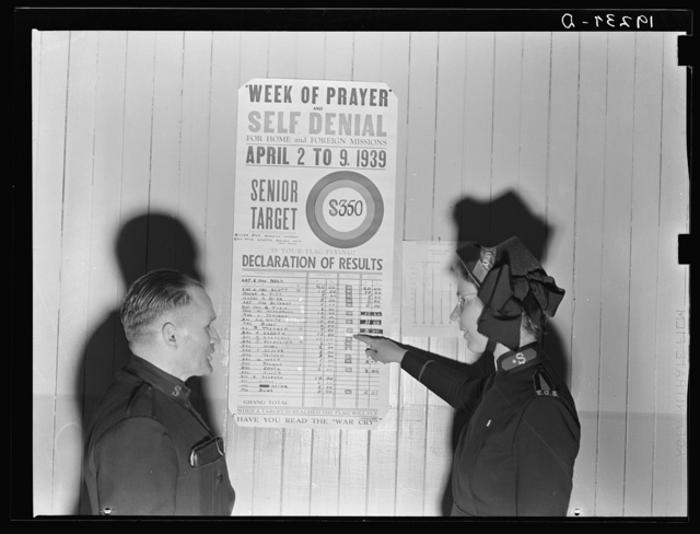 Salvation Army, San Francisco, California. Self-denial. Each member of the army is a quota, and chooses means of self-denial by which he saves his quota