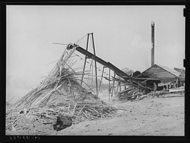 Sawmill and waste lumber pile being burned. Wells, Texas