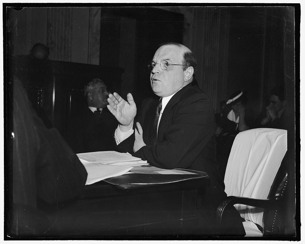 [...] says NLRD criticism precipitated [...] by lack of federal mediation service. [Washington], D.C., May 15. William M Leiseron, [member of?] the NLRB, told the Senate Education and [...] that much of the existing criticism of [...] could have been avoided by a more [...] federal mediation service. He caused the [committee?] which is holding hearings on the Wagner(?) Amendments(?) proposed recently, a good laugh [...] out that authority of the board ends [...] agree to bargain collectively. 'The [...] of the board ends there. The act then [...] ending of a happy life thereafter. [Anyone who is?] married knows that is not the whole story