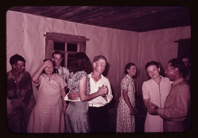 Scene at square dance in rural home in McIntosh County, Oklahoma