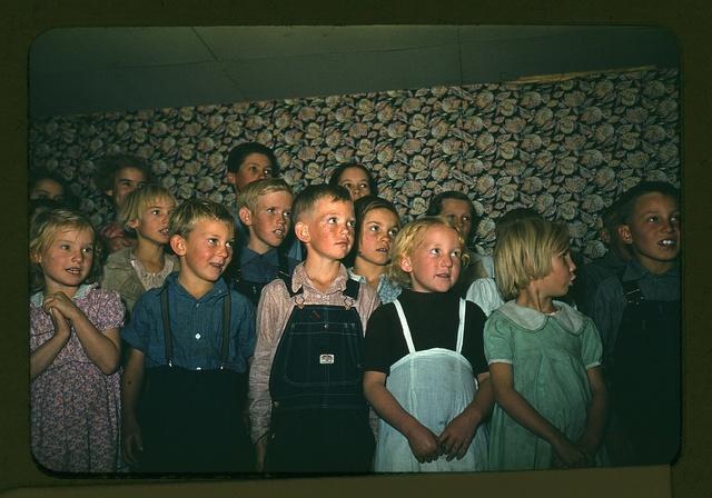 School children singing, Pie Town, New Mexico