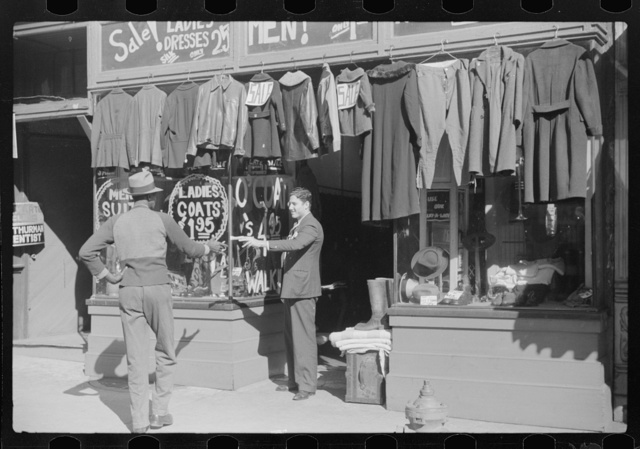 Secondhand clothing store and pawn shops on Beale Street, Memphis, Tennessee