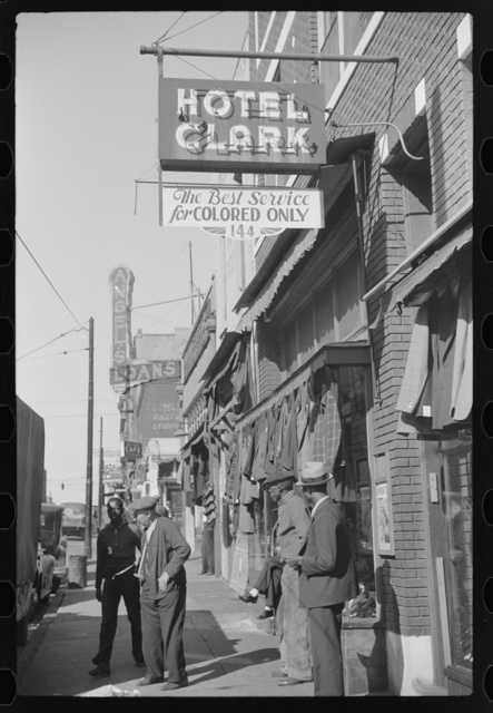 Secondhand clothing stores and pawn shops on Beale Street, Memphis, Tennessee