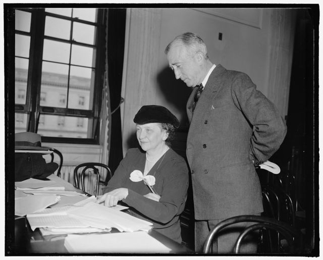 [Secretary of Labor Frances Perkins with unidentified]