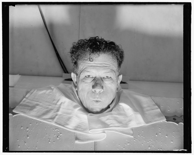 Senator Ellender. Senatorial sweat! The steam bath, heated with electric lamps and wet steam, is just the thing to take off that bit of softness along the backà but the heat is terrific! 3-17-39