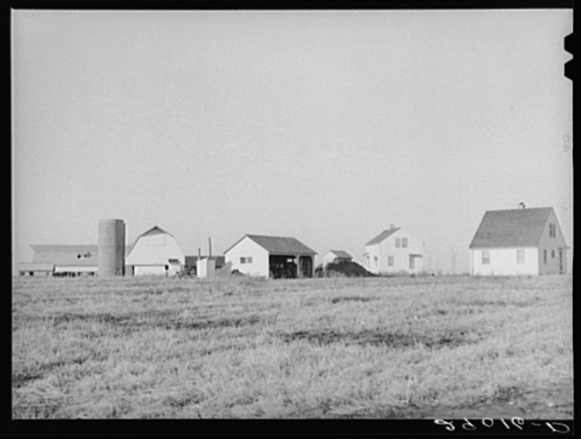Several of the homes at the Bois d'Arc Cooperative farm are located near the dairy farms. While all of the farm is worked cooperatively each home has its own garden plot. Osage Farms, Missouri