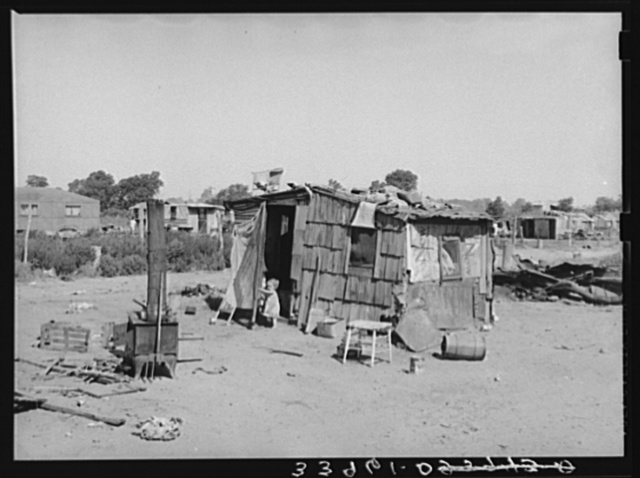Shack home, Mays Avenue camp. Oklahoma City, Oklahoma. See general caption no. 21