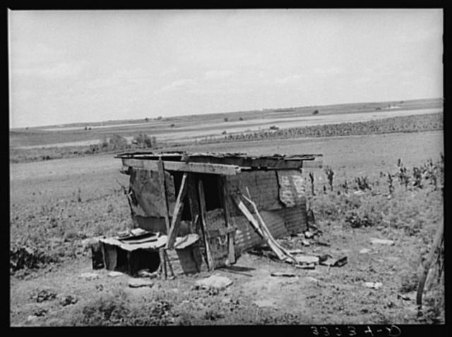 Shed and farmland. Muskogee County, Oklahoma, abandoned farm