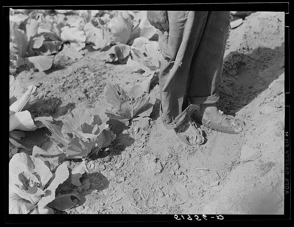 Shoes, made of old automobile tires, of Henry Mitchell, FSA (Farm Security Administration) client. Greene County, Georgia