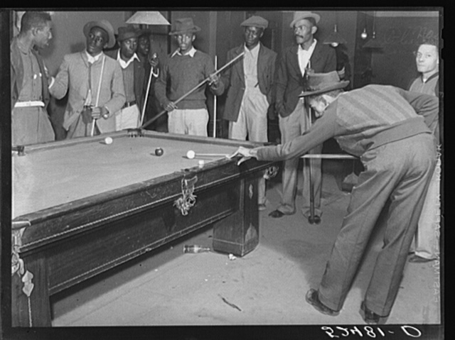 Shooting pool on Saturday afternoon. Clarksdale, Mississippi Delta