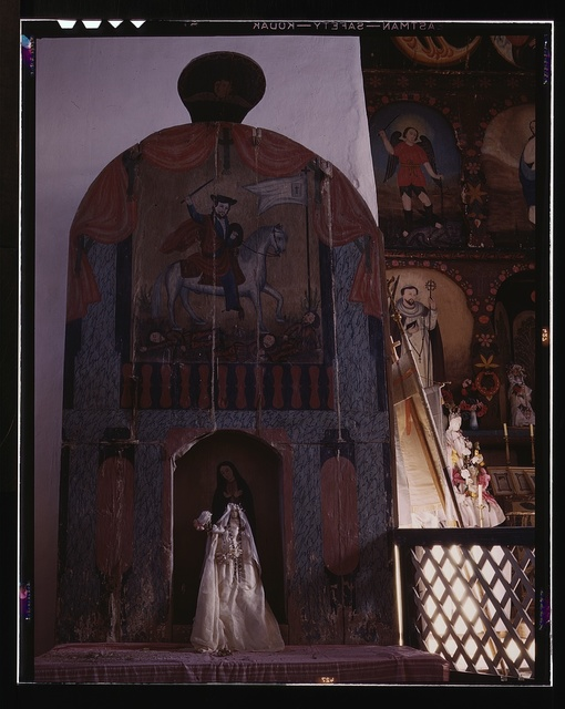 Side altar in the church dedicated to the Madonna and to Santiago Matamoro, Trampas, New Mexico