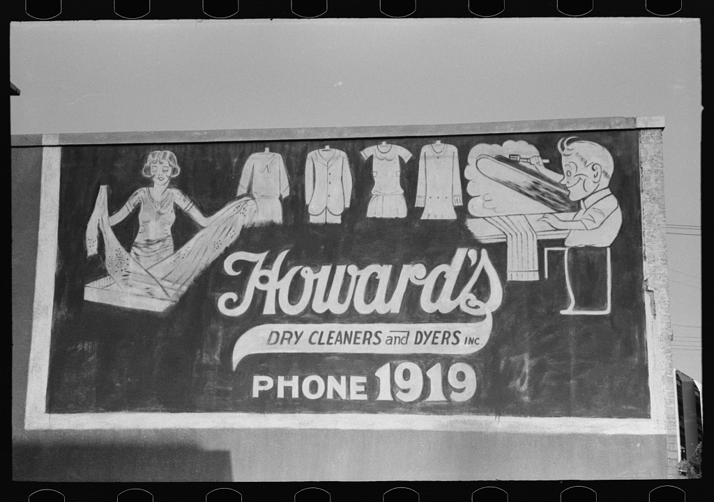Sign on dry cleaning establishment, Waco, Texas