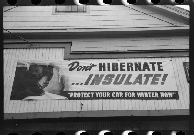 Sign on garage, Windsor Locks, Connecticut