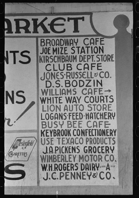 Sign showing business establishments of Colorado City, Texas