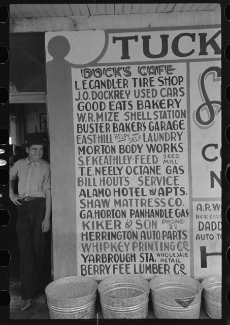 Sign showing some of the business establishments of Colorado City, Texas