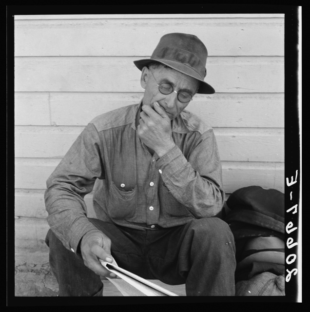 Single man, three weeks before opening of Klamath Basin potato harvest. California, Siskiyou County, Tulelake. See general caption number 43