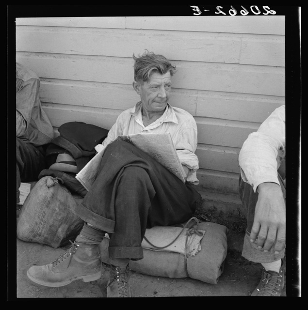 Single man, three weeks before the opening of the Klamath Basin potato harvest. California, Siskiyou County, Tulelake. See general caption number 43