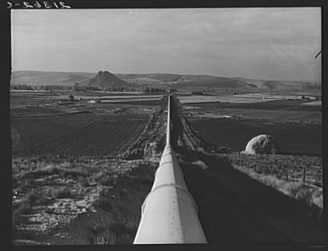 Siphon--the world's longest--which carries water five miles to Dead Ox Flat. It is eight feet in diameter. Malheur County, Oregon