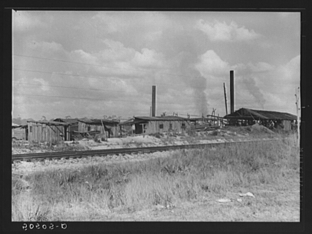 "Small sawmill, Childs, Florida. Owned by ""wealthy"" man, Mr. Warren, in Fort Meade, Florida. Negro workers build their own shacks out of old lumber from around there, work ten hours a day for two dollars, six days a week. The children don't go to school"