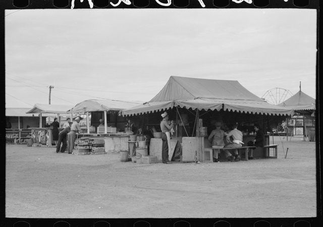 Soft drink and hamburger stands on a dull day at county fair, Gonzales, Texas