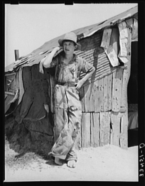 Son of day laborer living in Arkansas River bottom at Webbers Falls, Oklahoma. Muskogee County