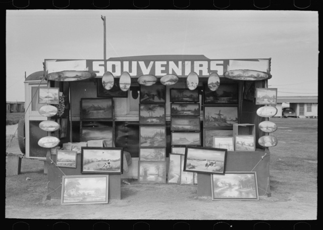 "Souvenir stand of ""buckeye"" painter, Corpus Christi, Texas"