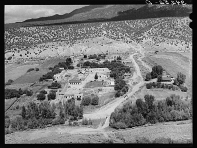 Spanish-American village along the Rio Hondo near Taos, New Mexico. The residents live in town and commute to their small farmlands on the outskirts of the town