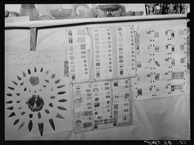 Stamp and Indian arrowhead collections of schoolchildren exhibited at the Gonzales County Fair, Texas