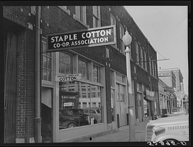 Staple Cotton Coop Association office on street in Leland, Mississippi Delta