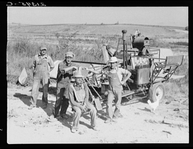 Stephen brothers. Joe, Jim, Eugene, Fred. All from Nebraska. All good farmers. Their combine purchased by FSA (Farm Security Administration) cooperators loan. Nyssa Heights district, Malheur County, Oregon