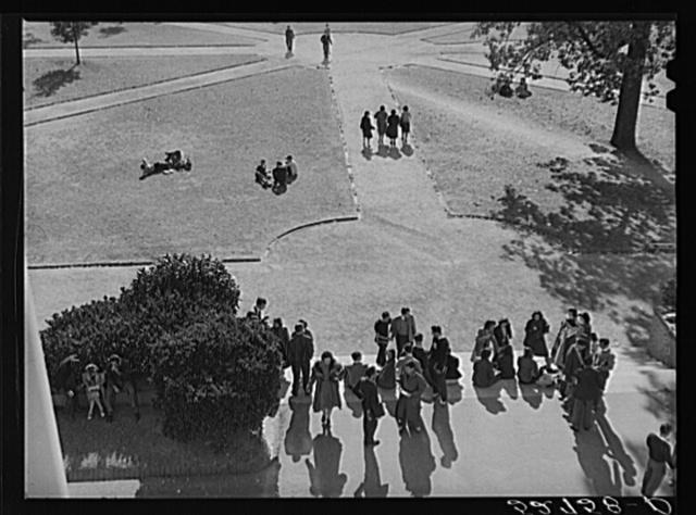 Students coming across campus during change of classes at University of North Carolina, Chapel Hill. Orange County, North Carolina