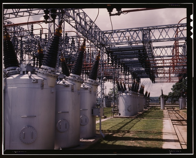 Switchyard at TVA's Wilson Dam hydroelectric plant, vicinity of Sheffield, Ala., 260 miles above the mouth of the Tennessee River