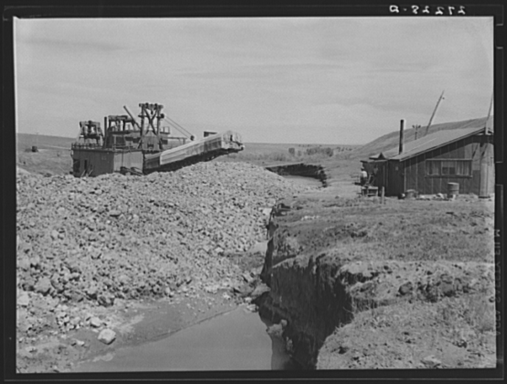 Tailing piles left by gold dredge  Madison County, Montana