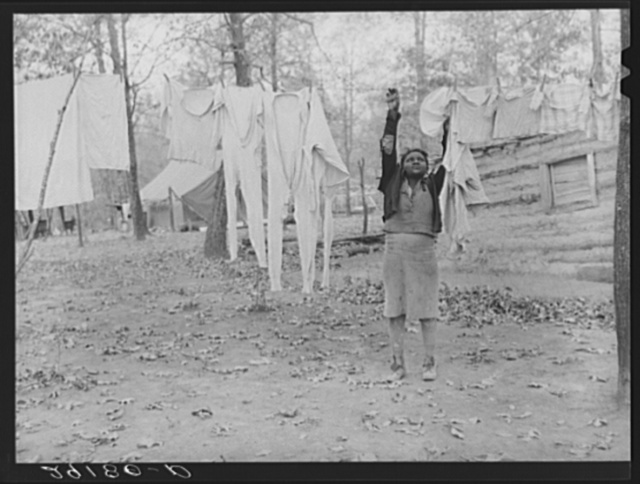 Taking down the washing at evicted sharecroppers' camp. Butler County, Missouri
