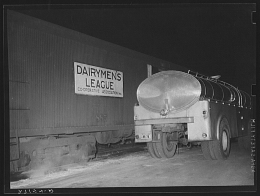 Tank car full of milk to be transferred to truck. Jersey City, New Jersey