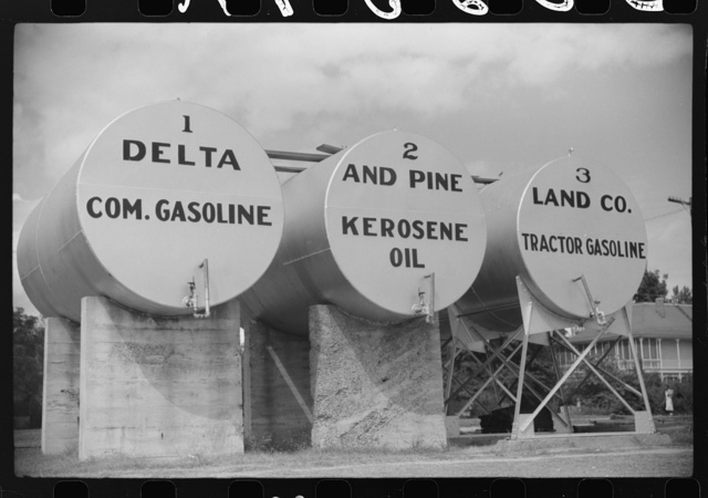Tanks of gas and oil for Delta and Pine Company, Scott, Mississippi Delta, Mississippi