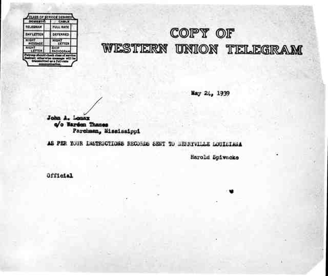 Telegram from Harold Spivacke to John A. Lomax, c/o Warden Thames, Parchman, MS