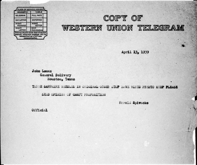 Telegram from Harold Spivacke to John A. Lomax, General Delivery, Houston, TX