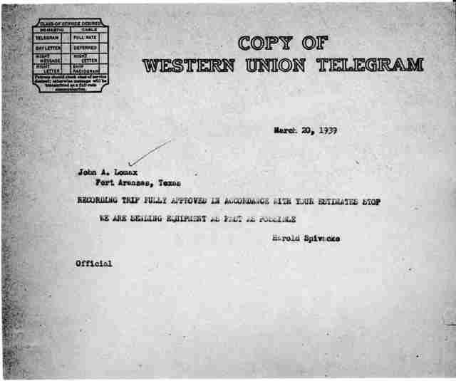 Telegram from Harold Spivacke to John A. Lomax; Port Aransas, TX