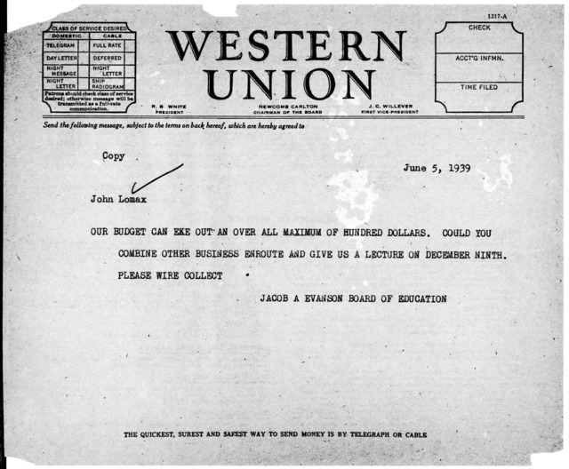 Telegram from Jacob A. Evanston, Board of Education, to John A. Lomax