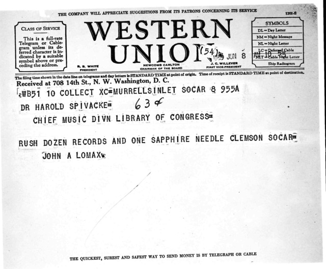 Telegram from John A. Lomax to Harold Spivacke